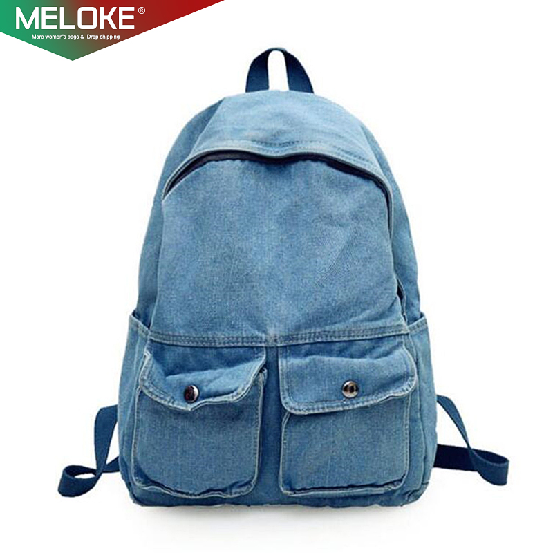 Meloke 2019 New Women Denim Travel Backpacks Vintage Style School Bags For High School Students Casual Holiday Backpack M46