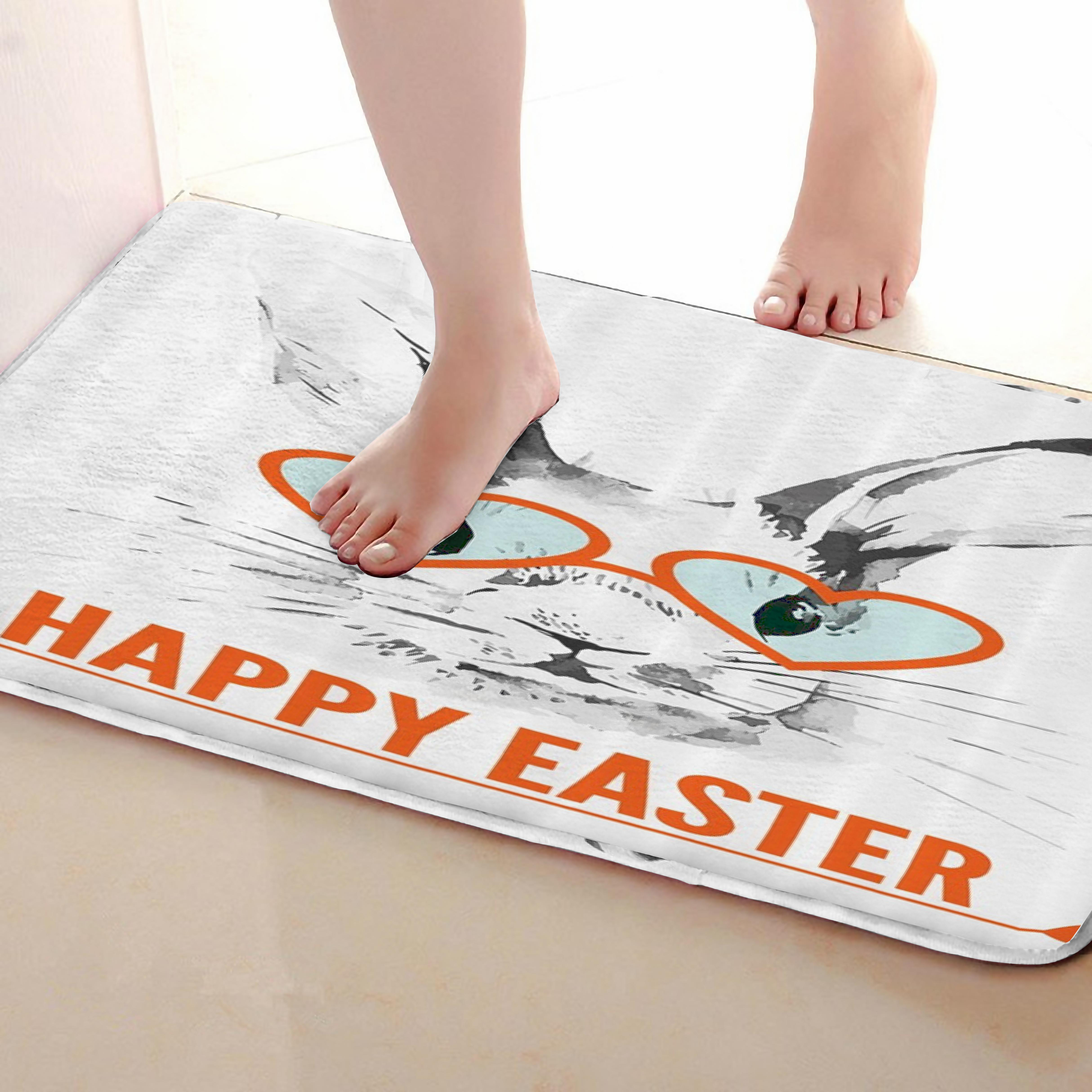 Rabbit Style Bathroom Mat,Funny Anti skid Bath Mat,Shower Curtains Accessories,Matching Your Shower Curtain