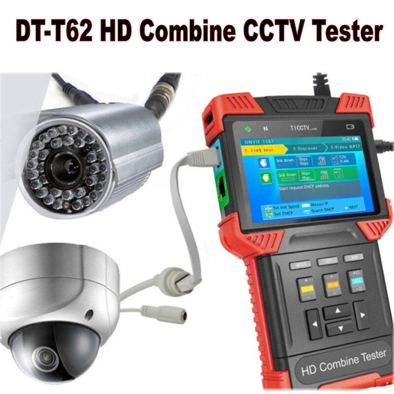 4-en-1 4.0 ''LCD 1080 P DT-T62 une main CCTV analogique caméra IP Support AHD IPC TDR ONVIF POE HD testeur de câble test