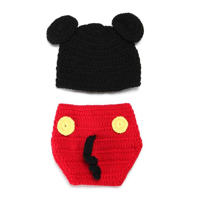 Шорты с Микки Маусом детская вязаная шапочка и подгузник комплект), Одежда для новорожденных, костюм из шерсти детское изделия кроше Подставки для фотографий, комплект детской одежды, MZS-14015