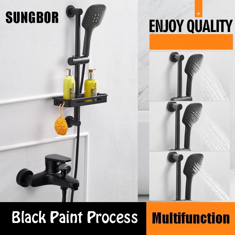 Bathroom black simple shower mixer set with shower bar bath wall bathtub mixer set with hand shower black orb shower faucet
