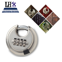 LHX Round 4 Digit Code Password Resettable Combination Cupboard Door Box Suitcase Lock Padlock