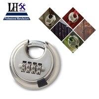 LHX Round 4 Digit Code Password Resettable Combination Cupboard Door Box Suitcase Lock Padlock