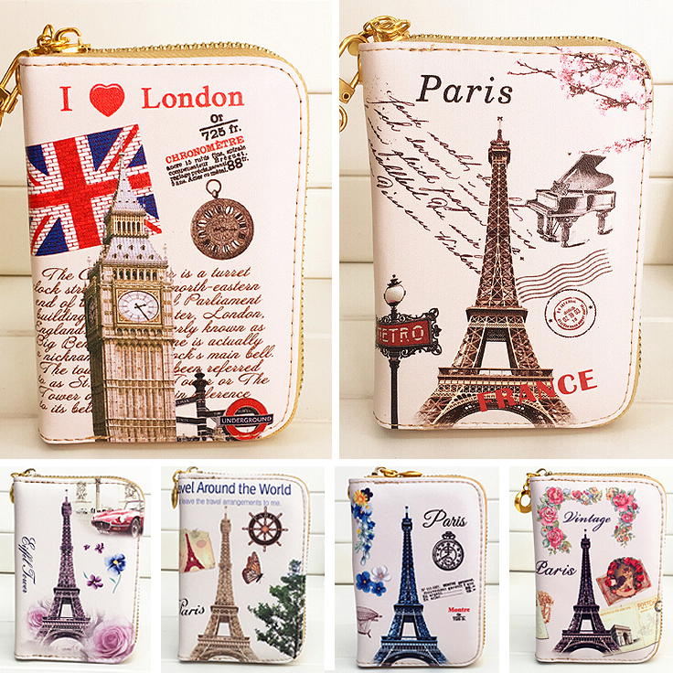Fashion Women Wallet Short Zipper Lady Purses Cards Holder Brand Coin Purse Tower Pattern Wtistlet Money Bag Clutch Woman Wallet women wallets brand design lady coin purse long money bags clutch woman wallet cards id holder paris tower girl purses bag burse
