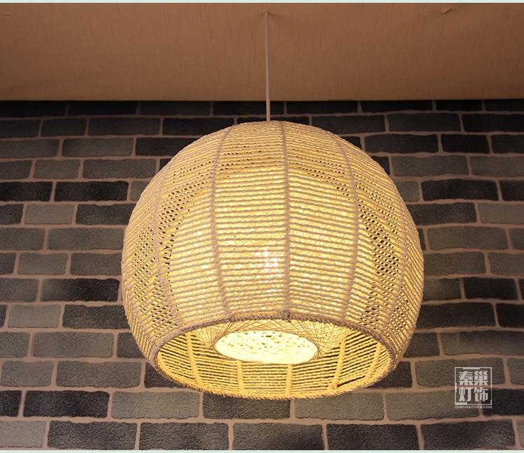 Japanese Lamp Shade: Bamboo rattan Pendant Lights Japanese retro round rattan garden balcony lamp  shade bedroom study Restaurant Pendant lamps,Lighting