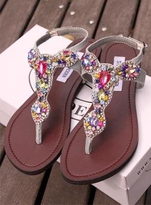 2014 summber ethnic colorful diamond crystal genuine leather flip flop bohemia sandals sheepskin rhinestone woman - Sandale Colore