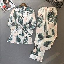 Conjunto de pijama con estampado para mujer, ropa de dormir de rayón, pantalones de manga larga, traje de dos piezas