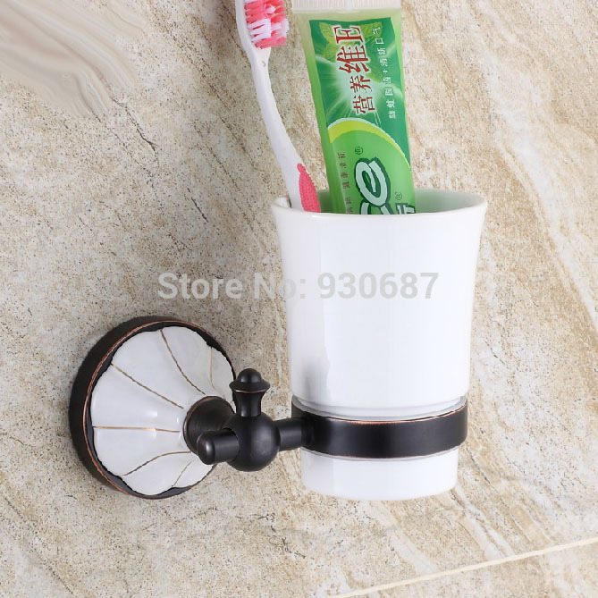 ФОТО Oil Rubbed Bronze Wall Mounted Toothbrush Holder Cup Ceramic Single white Cup