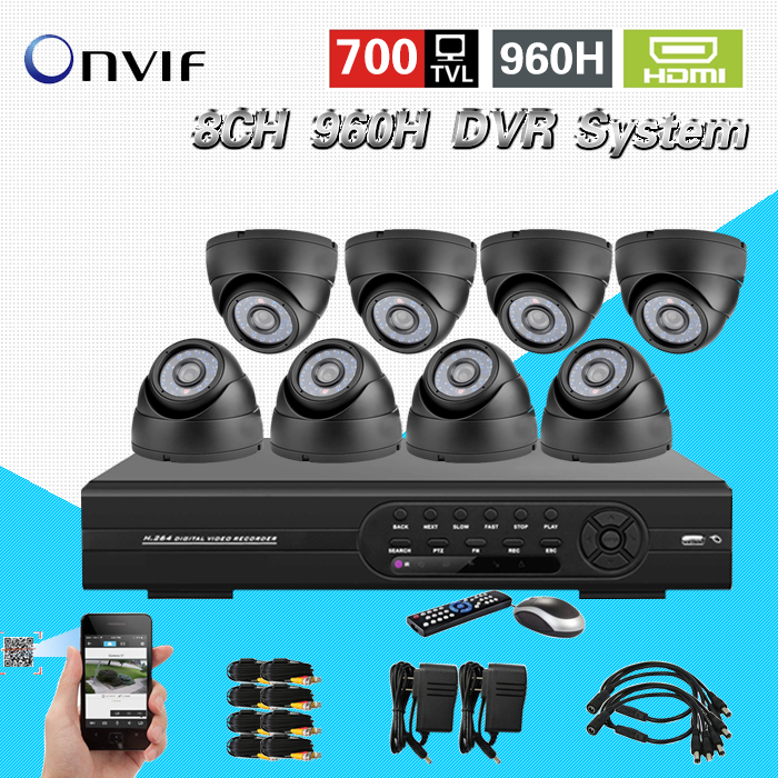 TEATE CCTV Security Camera System 8CH 960H D1 DVR 700TVL indoor Day Night Camera DIY Kit Color Video Surveillance System CK-147 система видеонаблюдения ngtechnic 8 8 cctv 8 2 dvr 1008 d626bcm 700 c