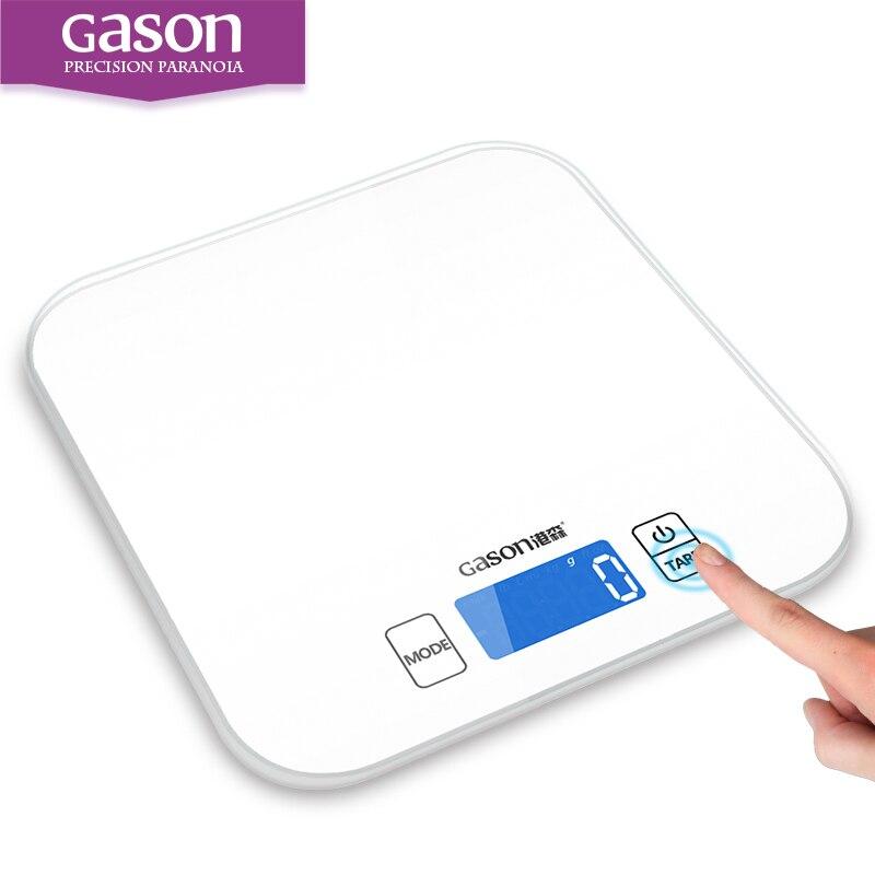 GASON C1 15 kg/1g Balance de Cuisine Électronique De Précision Mini Outils de Mesure Balance Gramme Numérique Cuisson Des Aliments En Verre ÉCRAN LCD