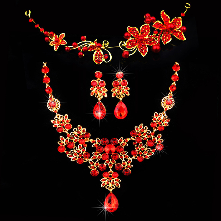 Fashion Red Flower Rhinestone Crystal Chunky Wedding Bridal Prom Jewelry  Set Necklace Earring Tiara Jewelry Set 03876cfeba80
