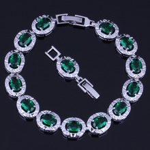 Luxurious Oval Green Cubic Zirconia 925 Sterling Silver Link Chain Bracelet 18cm 20cm For Women V0225