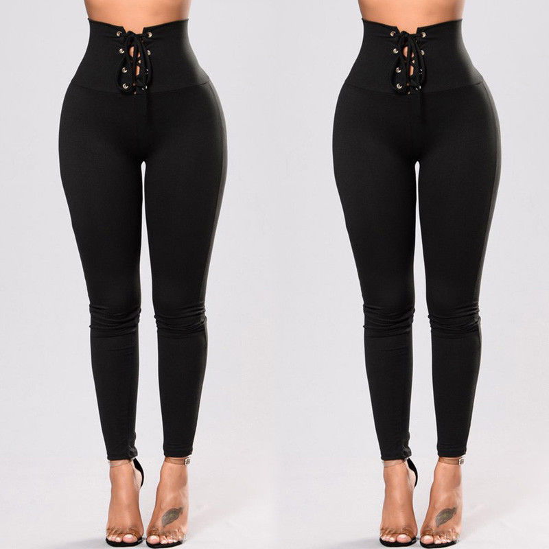 New Fashion Women Pants High Waist Drawstring Fitness -7908