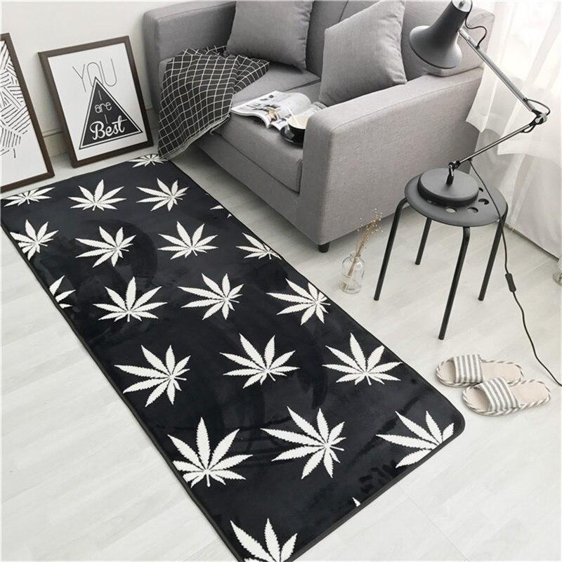 Mode noir blanc feuille flèche salon chambre décoratif tapis zone tapis salle de bain cuisine pied porte Yoga bébé tapis de jeu - 2