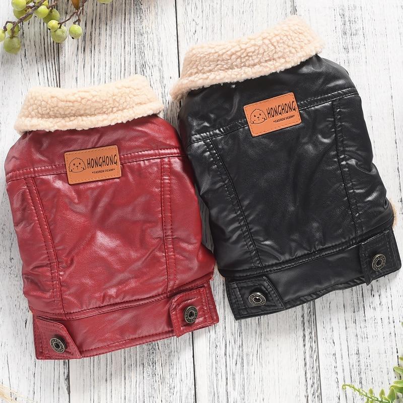 Кожаный зимний жилет куртка для домашнего питомца, мягкие костюмы для собак красного, черного цветов, Осенние маленькие щеночки, товары для больших животных среднего размера|Пальто и куртки для собак|   | АлиЭкспресс