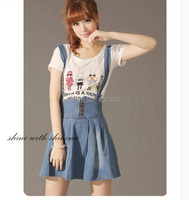 2016 young girl lolita sweet cute Lace Up suspenders short skirt slim high waist all-match spaghetti strap denim skirt overalls