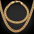 Banhado A ouro Pulseira E Colar de Jóias Conjuntos Cadeia Venitian Trendy 6 MM de Espessura 55 CM 22 ''Hot Venda Dos Homens Conjunto de jóias NH442