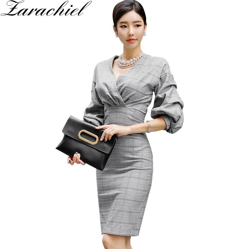 Zarachiel Puff Sleeve Cross V Neck Wrap Plaid Grey Dress Women ...