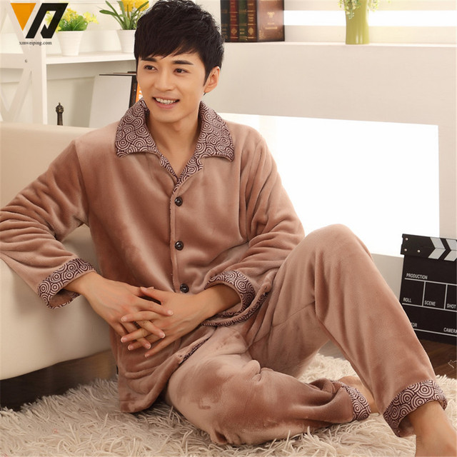 Men Nightwear Sets Pajamas Soft Thick Flannel Set Multicolor Loungewear Long-sleeve Adult Casual House Sleepsuit