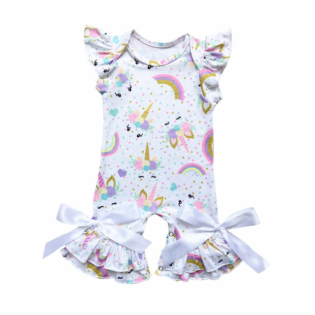 f0c41be188b Baby Girl Unicorn Romper Newborn Baby Jumpsuit Infant Birthday Party Clothes  Cactus Flamingos Puff Sleeve Baby Girl Onesie