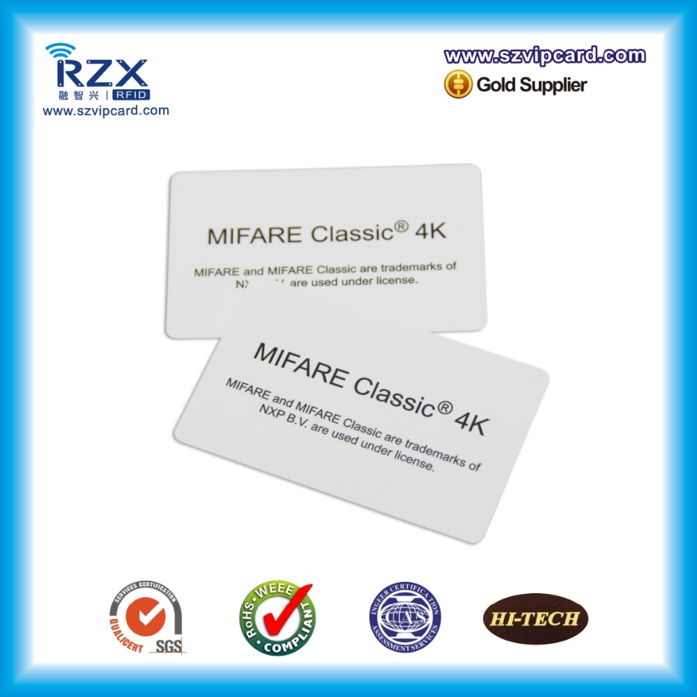200pcs ISO14443A MIFARE Classic 4K RFID contactless white PVC card For Access Control 200pcs track 1 2 and 3 magnetic stripe blank card for school library management access control