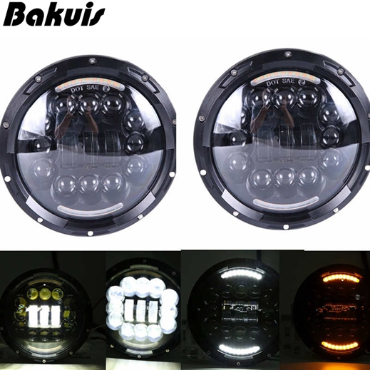 2pcs Car LED 7 Inch Round Headlight Conversion Kit For Beetle Classic Volkswagen 1950 -1979 For Jeep Wrangler Hummer for Harley