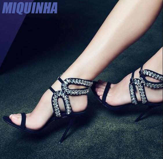 MIQUINHA 2017 Newest Luxury Crystal Women Open Toe Sandals Rhinestone Ankle Buckles Ladies Sexy High Heels Fashion Club Stiletto fashion summer apricot sandals charming multi buckles design woman high heels ankle buckles cover heel back zipper free ship