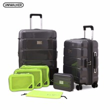 2PCS/SET Spinner PC Luggage, 20″ and 24″ Travelling Expandable Lightweight Rolling Suitcase With TSA Lock