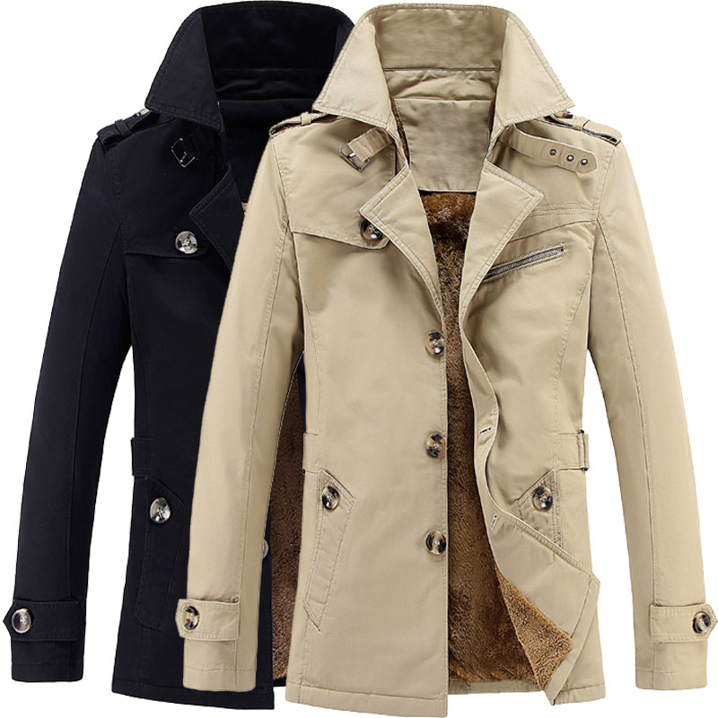 2018 male winter wool warm single breasted slim Dust coat / men's solid color youyh pop plus velvet thick casual long   trench