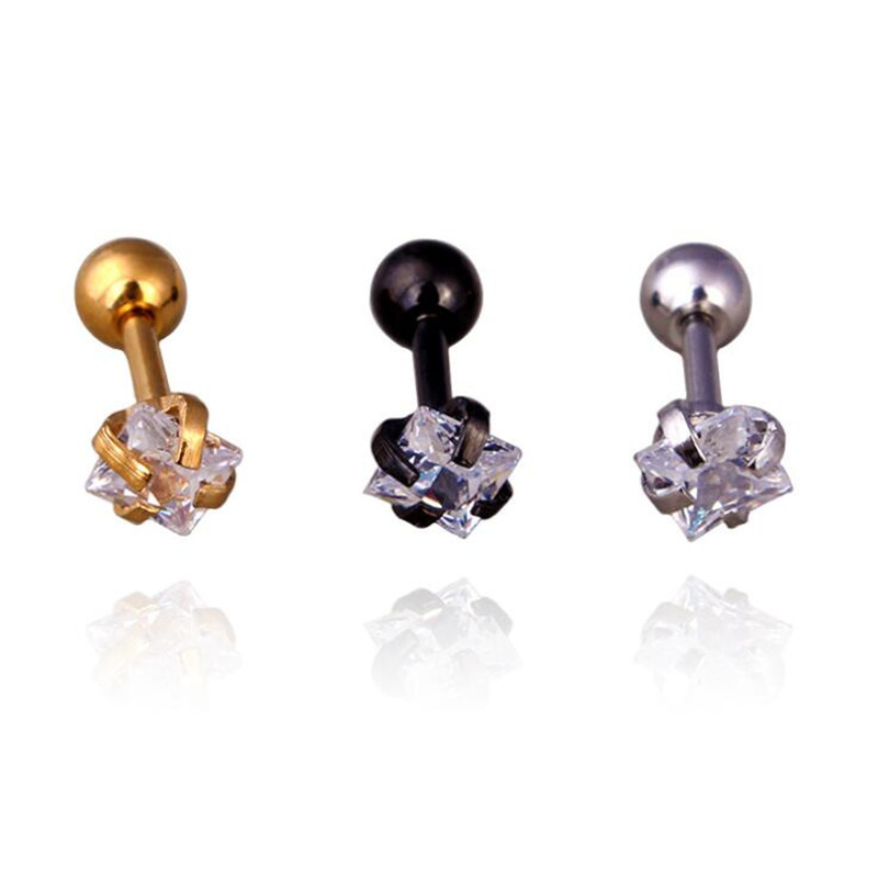 Fashion 4mm Square Zircon Claw Setting Stud Earrings Brief Trend Women Earrings Stainless Steel Titanium plate Jewelry