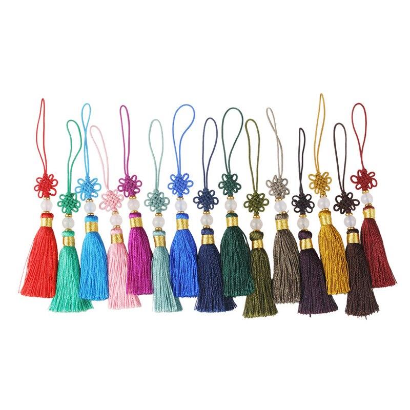 3-10Pcs Chinese Knots Beads Tassel Fringe Pendant DIY Craft Material Party Tassel Trim Curtains Decor Accessories Tassels Ribbon
