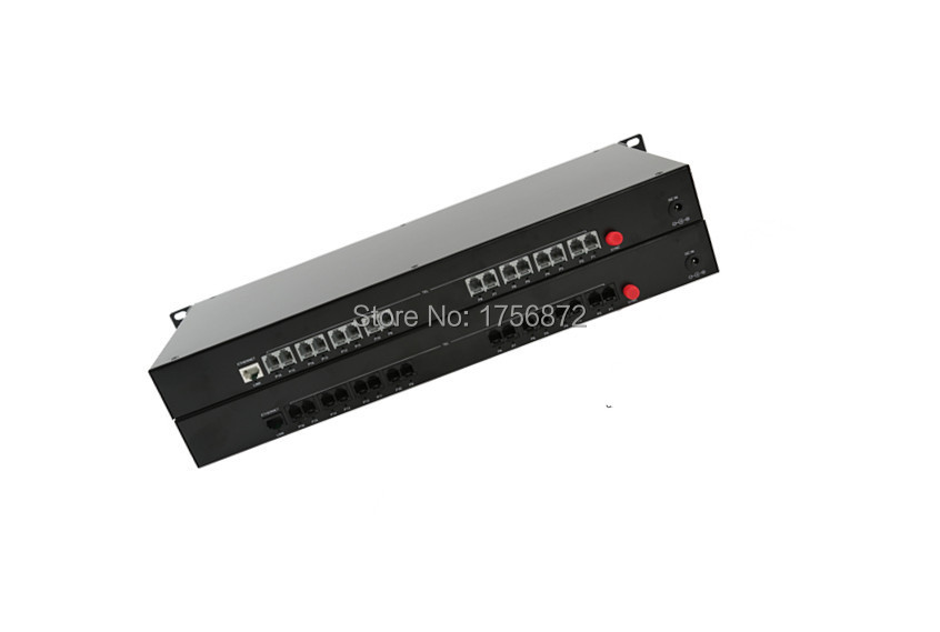 1PairHigh quality 16 Channel PCM Voice Telephone fiber optical media converter with Ethernet Rack mountable FC