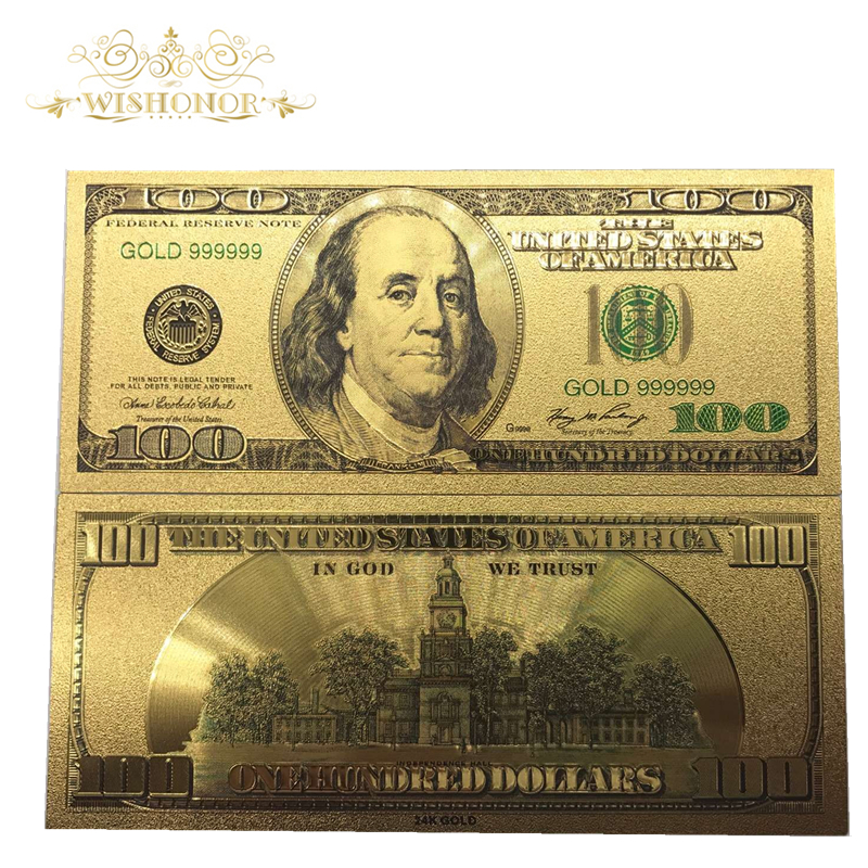 Wishonor 10Pcs/Lot Colorful USA Banknotes 100 Dollar Bills Banknote in 24K Gold Plated Paper Money For Gifts