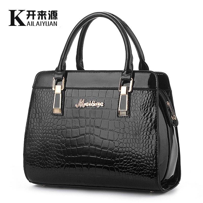 KLY 100% véritable cuir femmes sacs à main 2019 nouveau Crocodile mode sacs à bandoulière style européen atmosphère femme Messenger sac