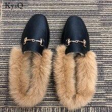 2018 Winter Autumn Flock Women Home Shoes Comfortable outdoor pu Women Slippers Flats Brand Winter Faxu Fur Slipper size 34-42