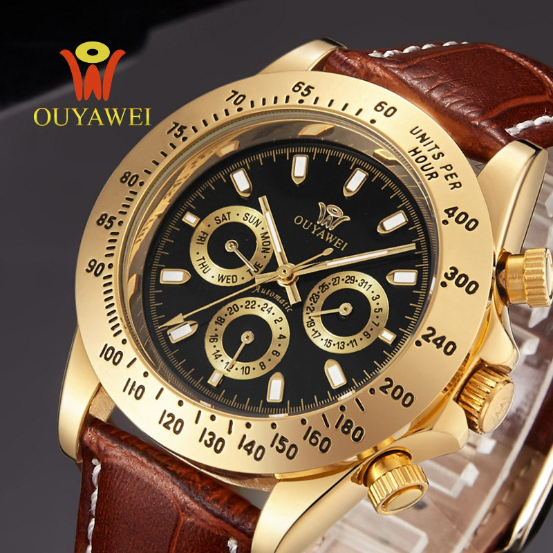 2017 OUYAWEI Gold automatic mechanical watch men Top Brand Luxury wrist watches for men 22mm leather skeleton reloj hombre mens watches top brand luxury gold watch men s waterproof military automatic mechanical wrist watch clock men hours reloj hombre