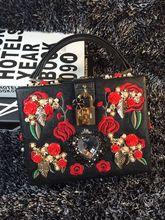 New Hot Retro 3D Flower Embroidery Cluch Mini Lock Handbags Hard Box Flap Bag font b