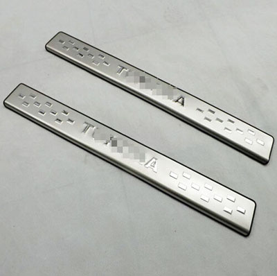 for Toyota Tundra 2011-2014 Door Sill Strip Automobile Stainless Steel Decoration Car Styling Stickers Accessories 2 Pcs bjmycyy 2 pcs car styling stainless steel small speaker circle patch stickers cover casw for chevrolet trax 2014 accessories
