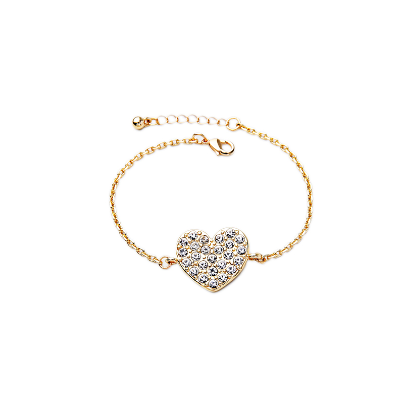 Thin Gold Chain Bracelet: Concise Gold Color Thin Chain Bracelet Delicate Rhinestone