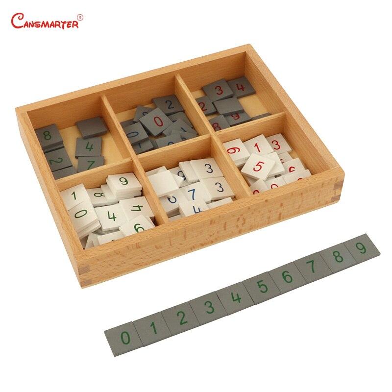 Jeux de timbres avec boîte Montessori matériaux pour la maison école jouets mathématiques aides pédagogiques numéros de hêtre jouets mathématiques MA062-JZ3 en bois