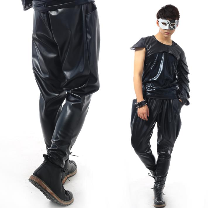 Stage personality high quality men leather pants harlan pant men feet trousers singer dance rock fashion pantalon homme black in Casual Pants from Men 39 s Clothing