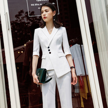 Set female OL commuter white suit wide leg pants two-piece 2019 spring and summer new white-collar overalls women's clothing