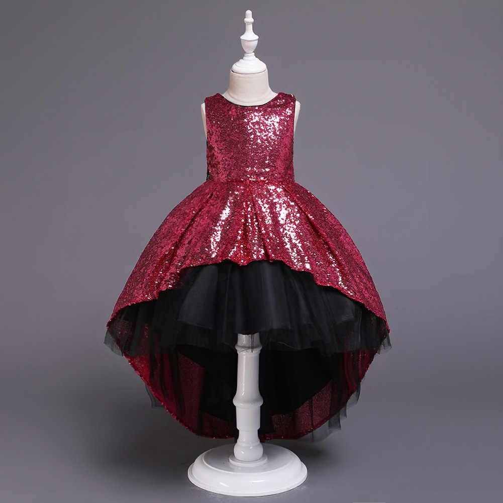 2019 verano nueva chica princesa falda brillante vestido Super estilo occidental niños modelo de pasarela vestido de noche de esmoquin