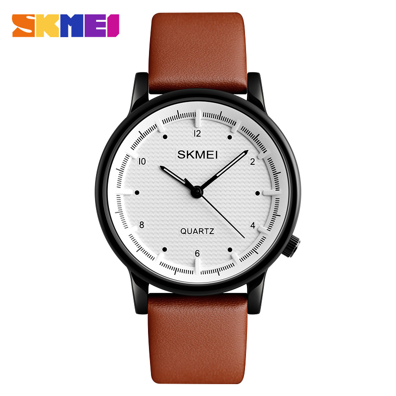 SKMEI Men Quartz Watch Minimalist Waterproof Sport Watches Leather Strap Luxury Brand Fashion Wristwatches Relogio Masculino