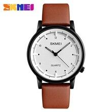SKMEI Hombres Reloj Minimalista Impermeable Sport Relojes de Cuarzo Correa de Cuero de la Marca de Moda de Lujo Relojes de Pulsera Relogio masculino