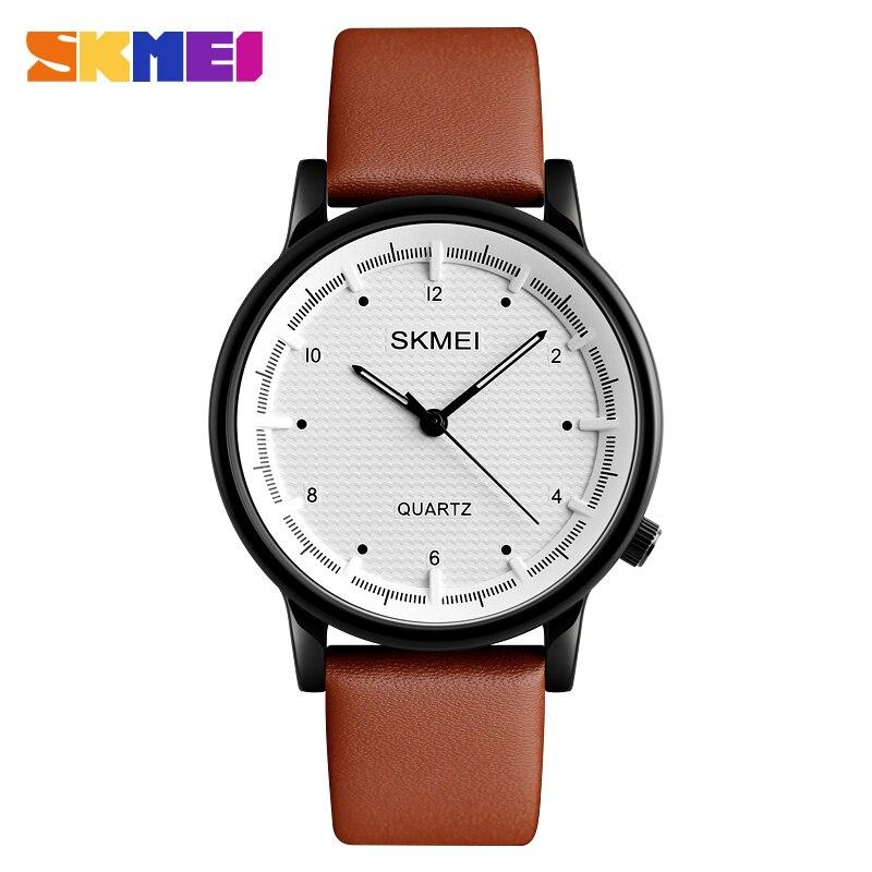 SKMEI Quartz Herenhorloge Minimalistische Waterdichte Sport Horloges Lederen Band Luxe Merk Fashion Polshorloge Relogio Masculino 1210