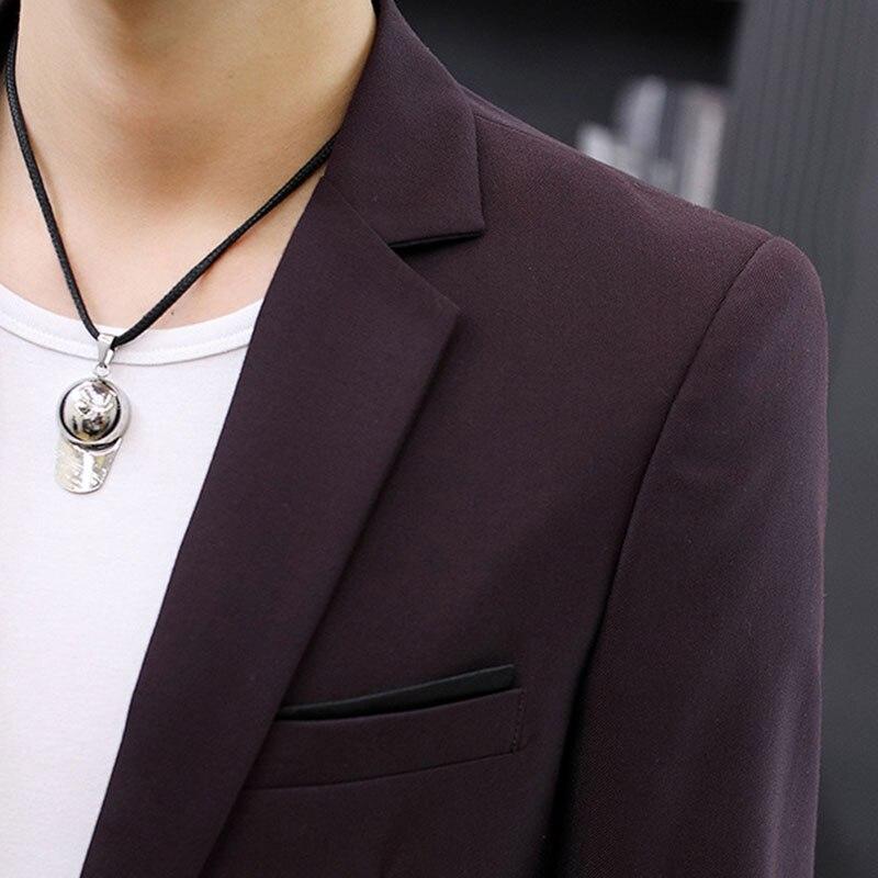 Mens Slim Fit Casual 1 Button Notched Lapel Blazer Jacket