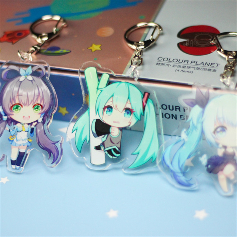 hatsune-miku-acrylic-keychain-luo-tianyi-anime-pendant-car-key-accessories-cute-japanese-font-b-vocaloid-b-font-game-green-onion-key-ring