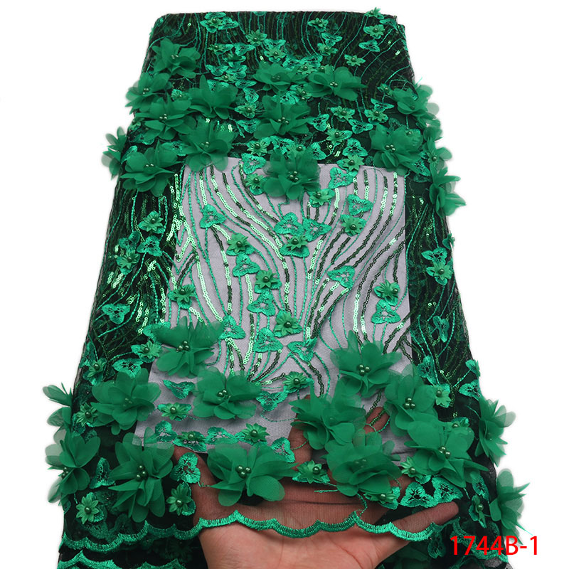 Wholesale 2018 Latest Green African French Net Lace Fabric African Tulle Lace with 3D Flowers Fabric