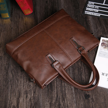 ETONWEAG New 2017 men brands Italian leather brown luxury business style handbags vintage shoulder laptop bags document bags